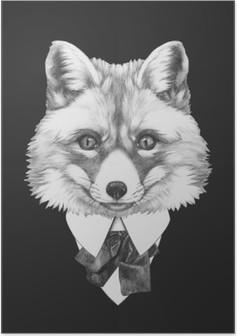 Poster Takım Fox portresi. El illüstrasyon çizilmiş.