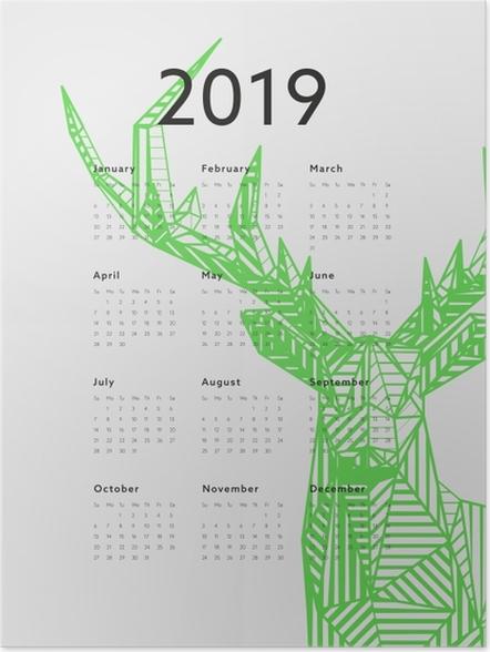 Poster Takvim 2019 - Yeşil geyik -
