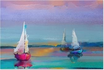 Poster Tuval dokusu üzerinde renkli yağlı boya. güneş ışığı arka plan ile deniz manzarası resimleri izlenimcilik görüntüsü. tekne ile modern sanat yağlıboya tablolar, denizde yelken. arka plan için soyut çağdaş sanat