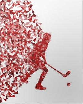 Poster Üçgenin yapılan florbol oyuncu vektör siluet v fragmanları