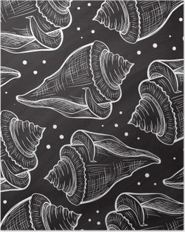 Poster Vector bir kara tahta arka plan üzerinde sorunsuz desen Kabukları