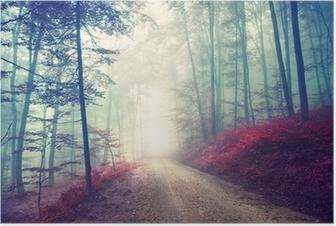 Poster Vintage sihirli orman yolu