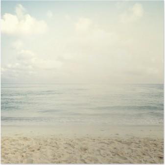 Poster Yaz aylarında Vintage tropikal plaj