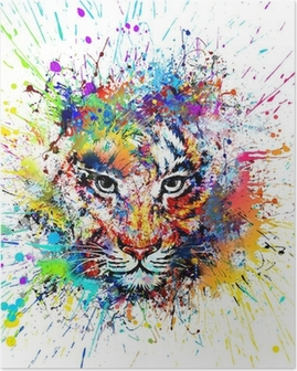 яркий фон с тигром Poster