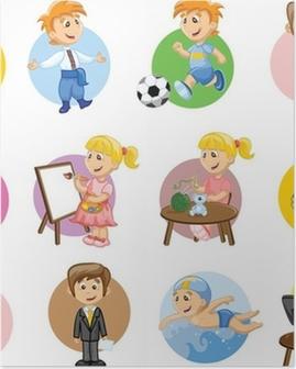 Векторные иллюстрации людей разных профессий Poster