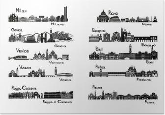 Poster 10 villes d'Italie - signts silhouette