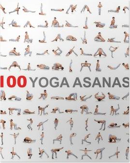 Póster 100 posturas de yoga en el fondo blanco