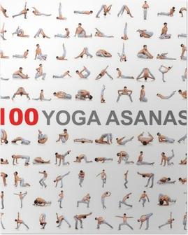 Poster 100 yogaställningarna på vit bakgrund