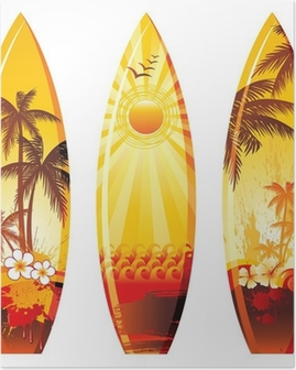 3 surf boards Poster