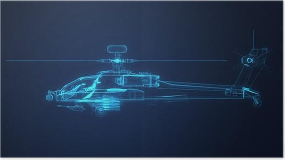 Póster 3d boceto Marco de alambre de Apache Helicóptero • Pixers ...