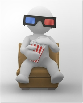 3d glasses with popcorn Poster