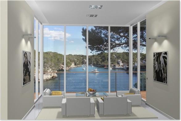 Poster 3D rendering woonkamer in de baai • Pixers® - We leven om te ...