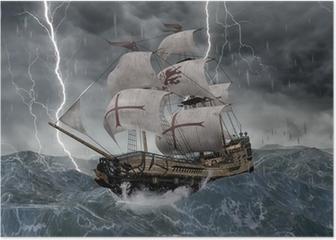 3D Segelschiff Galeone in stürmischer See Poster