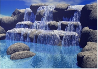 Poster 3d waterval