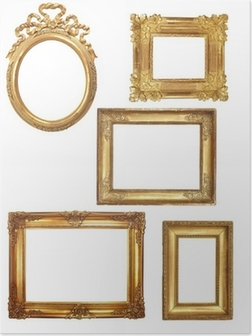 Poster 5 oude houten frames op een witte achtergrond gouden
