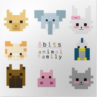 Poster Tête Pixel Art Animal Pixers Nous Vivons Pour