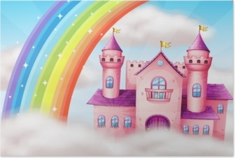 A Beautiful Pastel Castle and Rainbow Poster