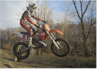 A jump rider on a motorcycle motocross Poster