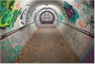A long pedestrian tunnel covered with graffiti and neon lights Poster