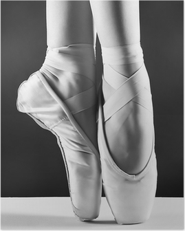 A photo of ballerina's pointes on black background Poster