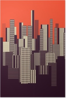 a three colors graphical abstract urban landscape poster in orange, and brown Poster