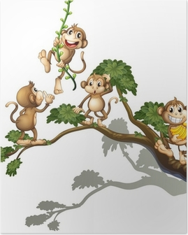 A tree with four monkeys Poster