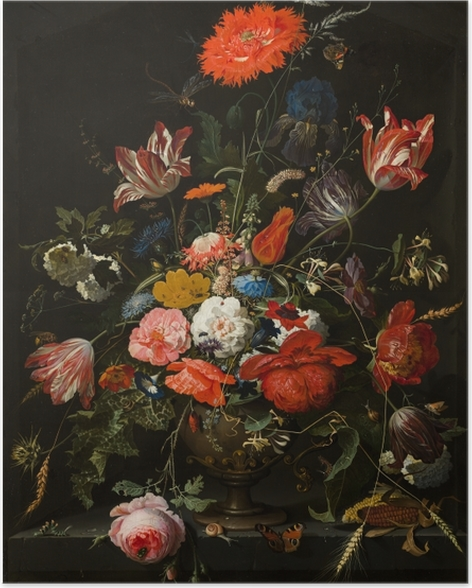 Poster Abraham Mignon - Flowers in a Metal Vase - Reproducties