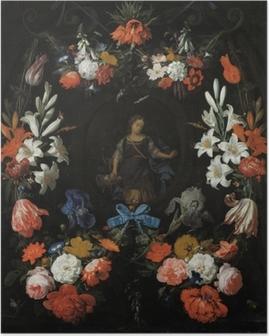 Póster Abraham Mignon - Garland of Flowers