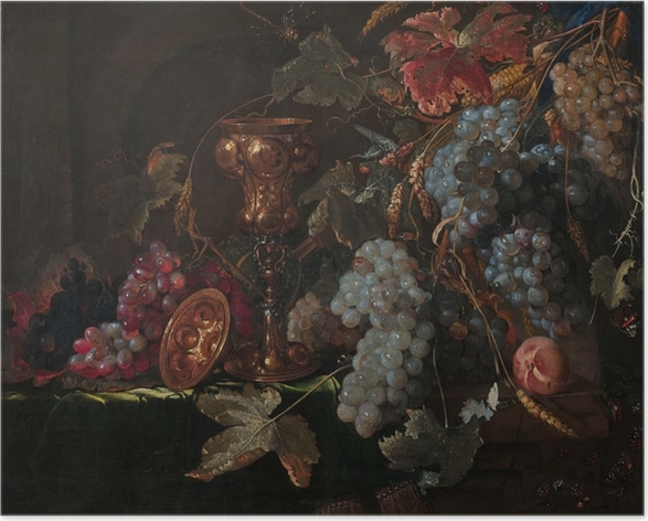 Abraham Mignon - Grape and silverware cup on an entablature Poster - Reproductions