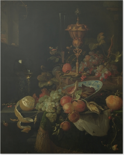 Poster Abraham Mignon - Still life with fruit and a bowl on a roosters leg - Reproductions