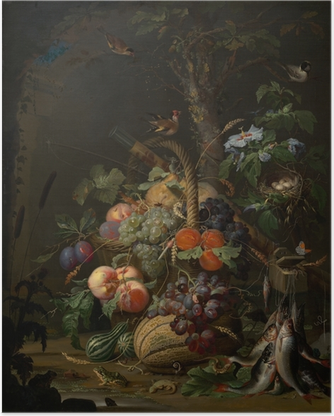 Póster Abraham Mignon - Still Life with Fruit, Fish and a Nest - Abraham Mignon
