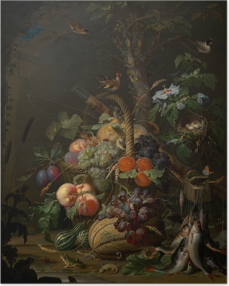 Poster Abraham Mignon - Still Life with Fruit, Fish and a Nest - Abraham Mignon