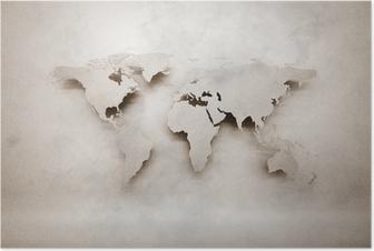 Poster Abstract 3d grunge carte du monde