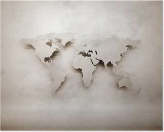 Abstract 3d grunge world map Poster