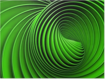 Abstract 3d spiral or twirl in green toned Poster