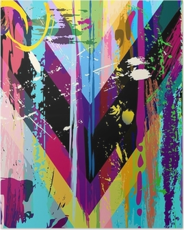 abstract background, with strokes, splashes and geometric lines Poster