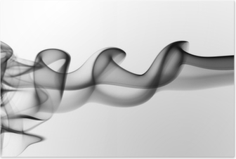 Abstract black fume waves on white Poster