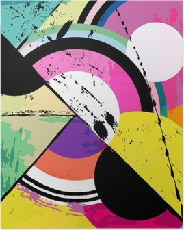 abstract circle background, with paint strokes Poster