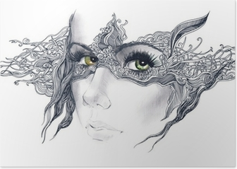 abstract decorated woman face Poster