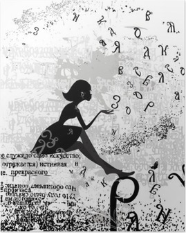 abstract design with a girl grunge text Poster
