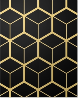 Abstract geometric background. Hexagonal mesh with embedded cells. Vector seamless illustration. Rhythmic repeating pattern. Modern style for geometric templates Poster