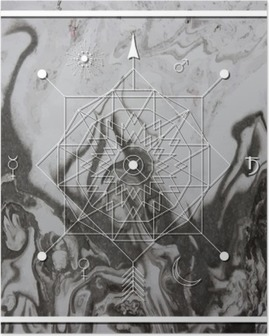 Abstract mystical geometry, linear alchemy, occult, philosophical sign. Poster