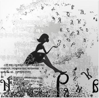 Poster Abstract ontwerp met een meisje grunge tekst