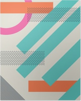 Abstract retro 80s background with geometric shapes and pattern. Material design wallpaper. Poster