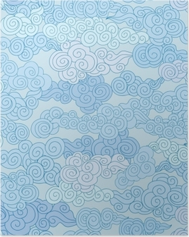 Abstract swirl cloud shapes geometgric tiled pattern in chinese style Sky ornamental background Poster