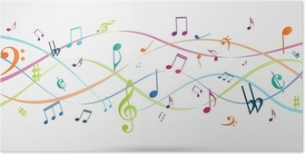 Poster Abstracte achtergrond met kleurrijke muziek noten