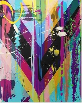 Poster Abstracte achtergrond, met lijnen, spatten en geometrische lijnen