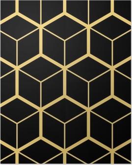 Poster Abstracte geometrische achtergrond. zeshoekig gaas met ingesloten cellen. vector naadloze illustratie. ritmisch herhalend patroon. moderne stijl voor geometrische sjablonen