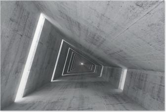 Poster Abstracte lege betonnen interieur, 3d renderen van hellende tunnel