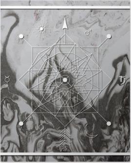 Poster Abstracte mystieke meetkunde, lineaire alchemie, geheim, filosofische teken.